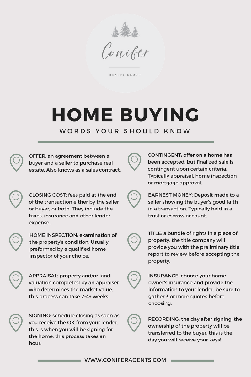 First Time Home Buyer Vocab Cheat Sheet with the top 10 terms used during  the Home Buying Process. Receive a free Home Buyers Guide