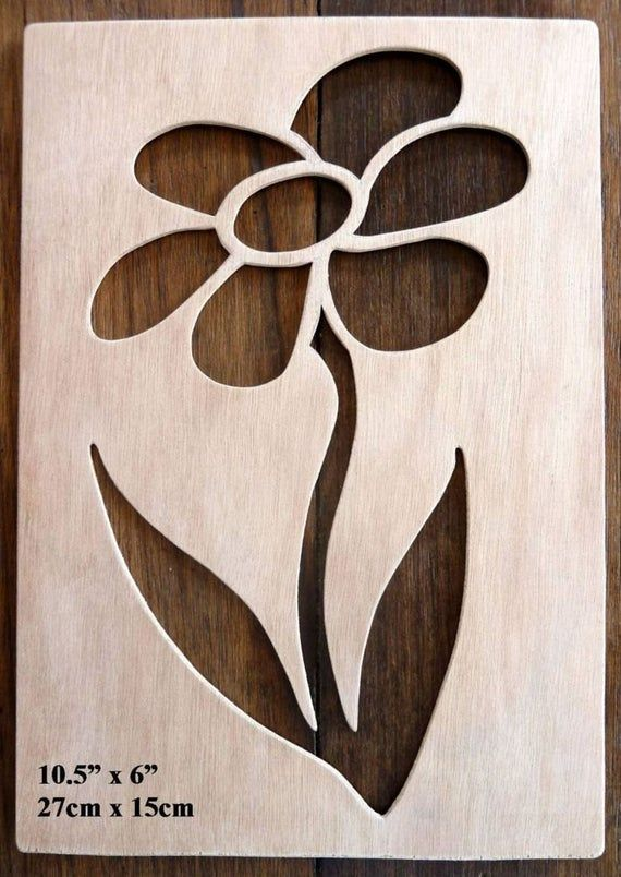 Beautiful Hand Crafted MDF Rose Drawing Template / Stencil (Style 1) – 9.75″ X 6.25″