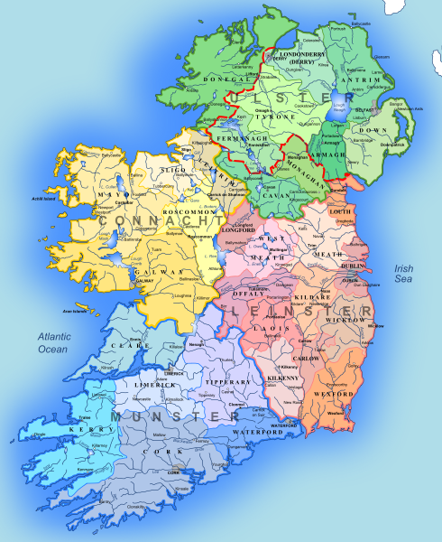 Map Of Ireland With Counties And Provinces.Map Showing The 4 Provinces Of Ireland And The Traditional Irish