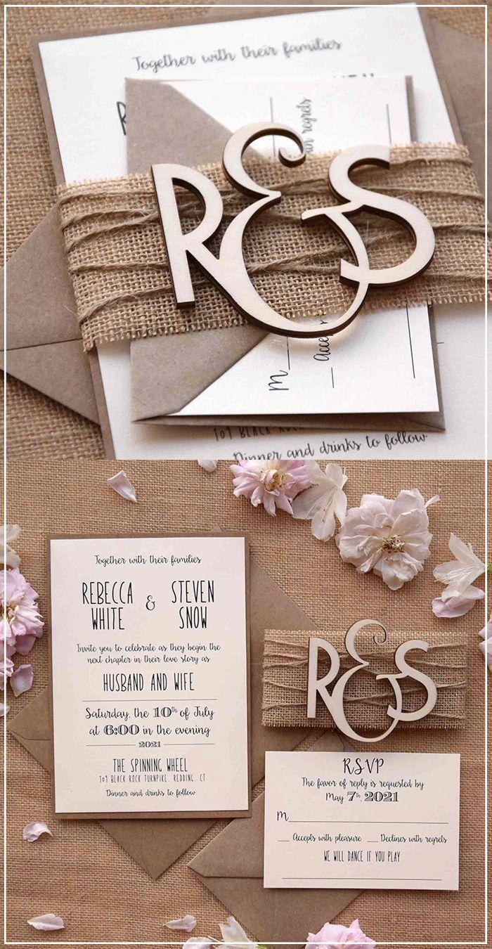 Wooden Monogram Wedding Invitations, Wood Rustic Invitations
