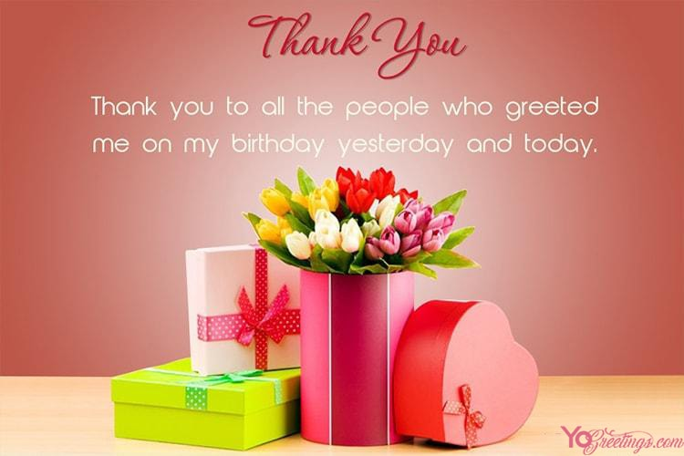 beautiful flowers birthday thank you wishes card maker