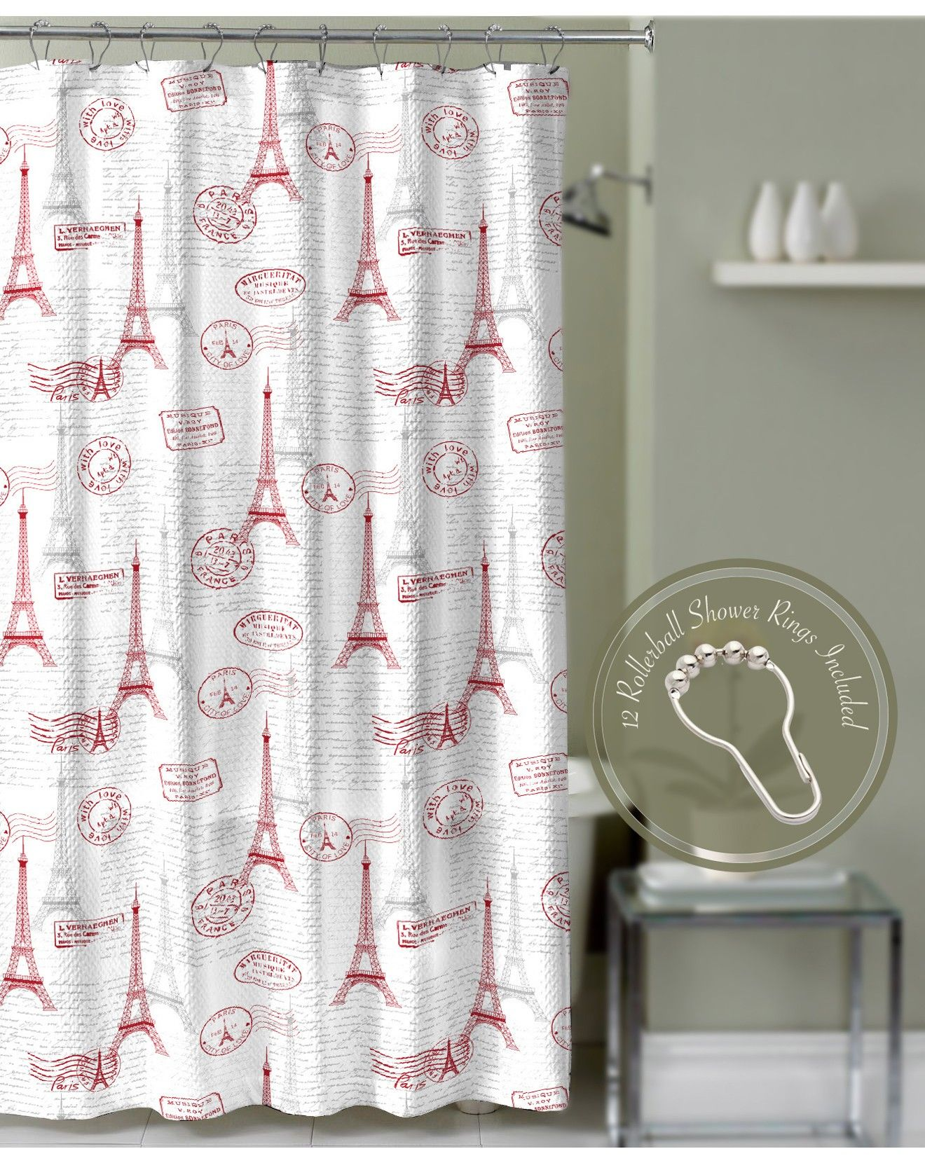 Genial Crest Home Paris Postal Decorative Polyester Fabric Bathroom Shower Curtain  With Red And Gray Paris Design