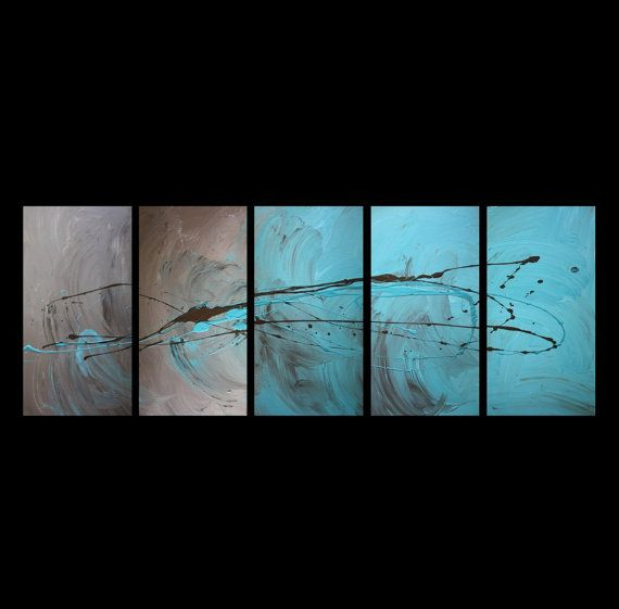 5 canvas ABSTRACT CANVAS PAINTING turquoise by DecorAbstractArt
