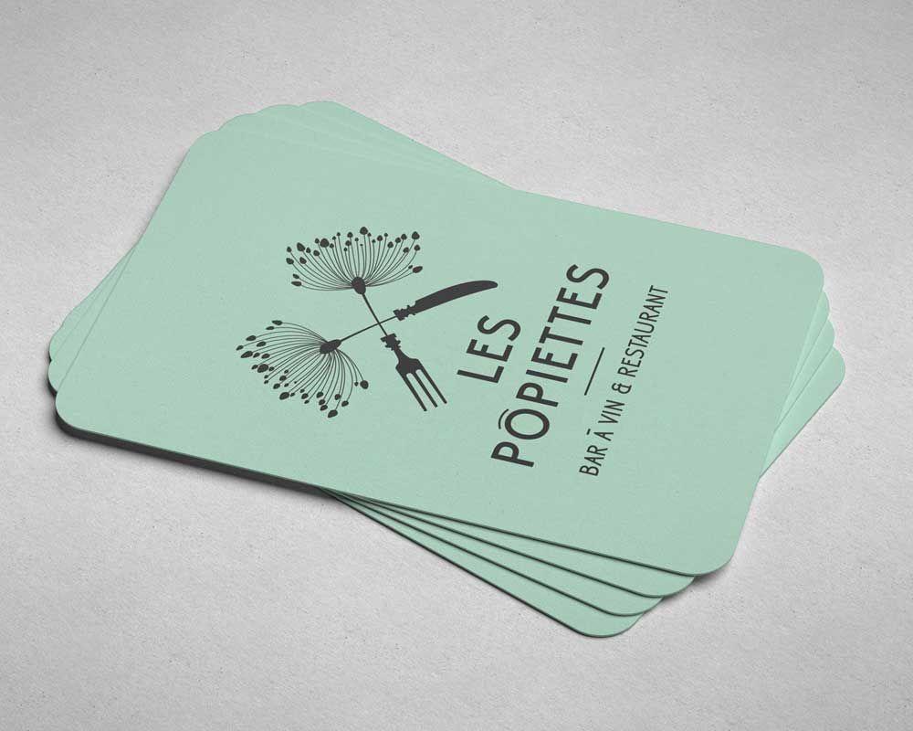 les p u00f4piettes  cartes de visite par steve demont  logotype  restaurant  businesscard