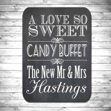 Wooden Wedding Candy Buffet Bar Sign Personalised Mr And Mrs Art Deco Vintage Style A Love So Sweet With 25 Free Striped Bags