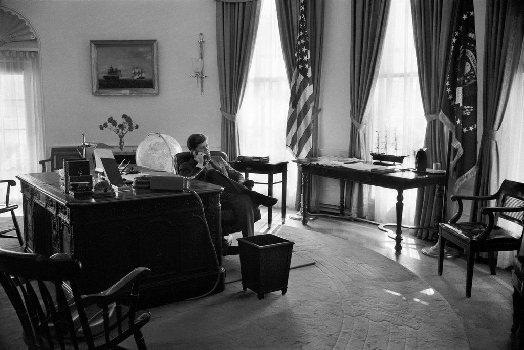 kennedy oval office. President Kennedy In The Oval Office. By Georges TAMES, Office