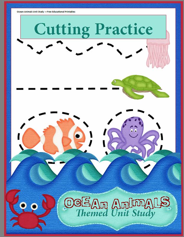ocean animals unit study preschool cutting practice preschool cutting practice cutting. Black Bedroom Furniture Sets. Home Design Ideas