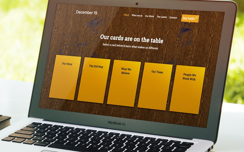 Website design and development for December 19. Featuring HTML5 animation for interactive navigation. Visit www.december19.co.uk