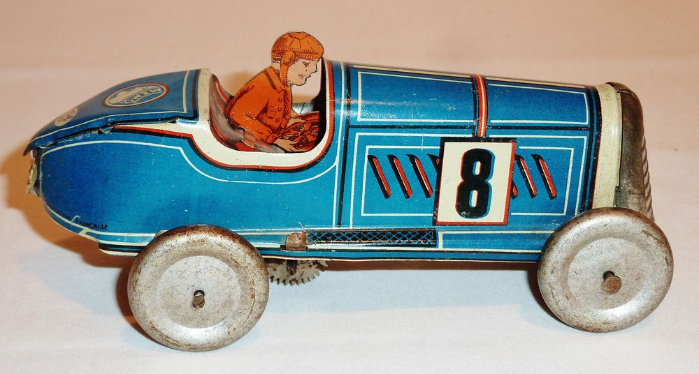 Memo France Tin Litho Wind Up 1930s Racer Race Car 8 With Driver 6 Inch Memo Toy Car Tin Car