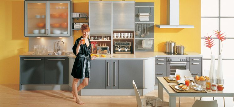Grey and Yellow Kitchen Design. Would do bottom cabinets dark grey and top  cabinets lighter