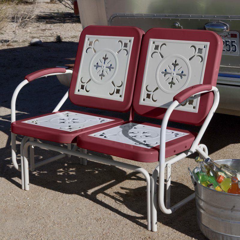 Surprising Outdoor Glider Retro Vintage Metal Loveseat Bench Rocker Creativecarmelina Interior Chair Design Creativecarmelinacom