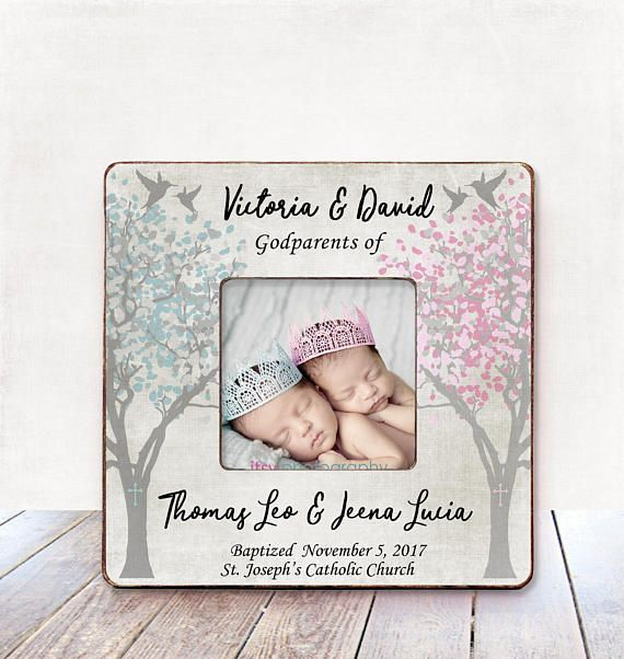 GODPARENTS Gift from TWINS Girl and Boy Baptism Gift for