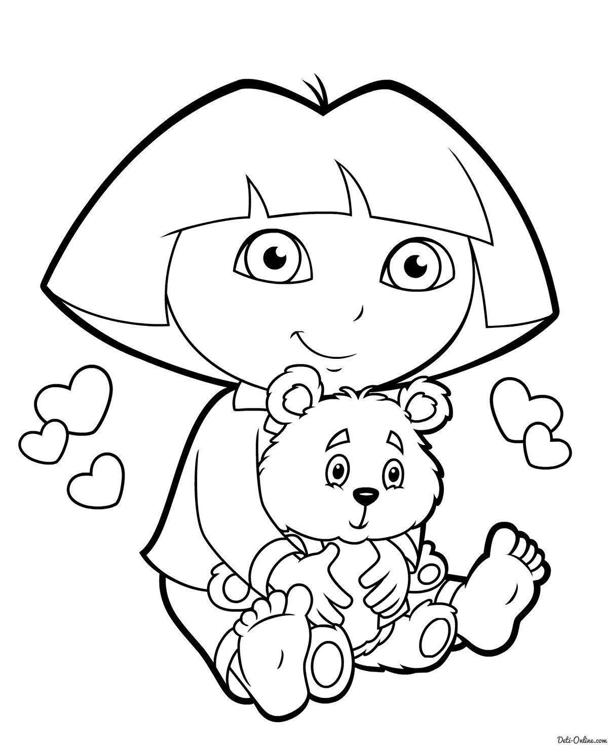 Раскраска Даша с медвежонком распечатать или скачать