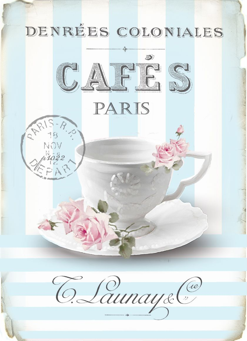 Shabby chic sign caf s paris with white tea cup pink - Cuadros shabby chic ...