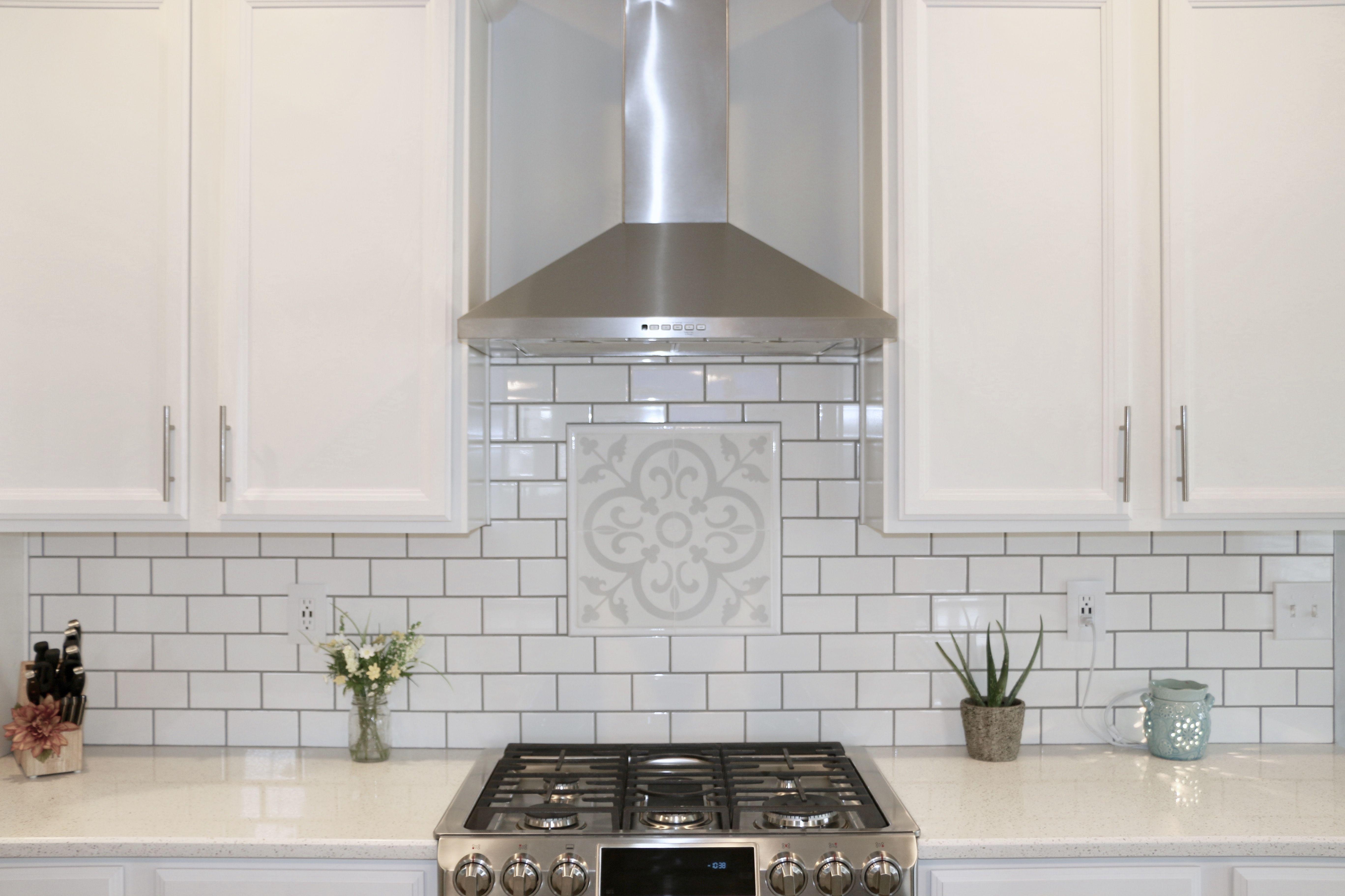 - Cement Tile - Pattern: Allegro White Subway Tile Backsplash