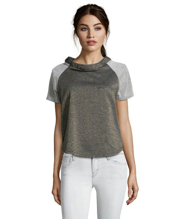 Casual Couture by Green Envelope metallic charcoal terry knit 'baseball' goldtone flecks tee