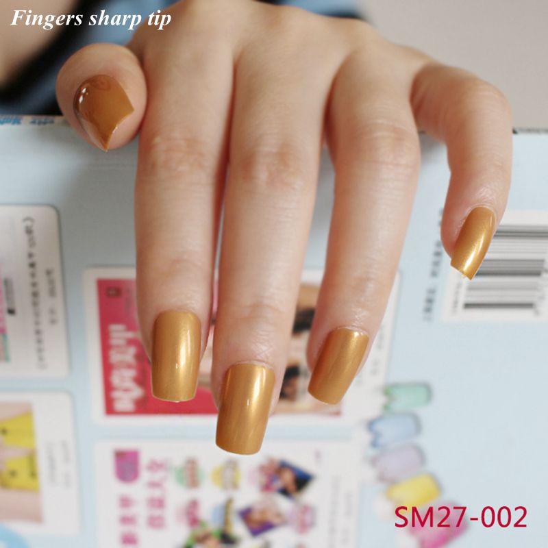 24 Pcs/set Fake Nails Fashion Acrylic Long Full Nail Tips Solid ...