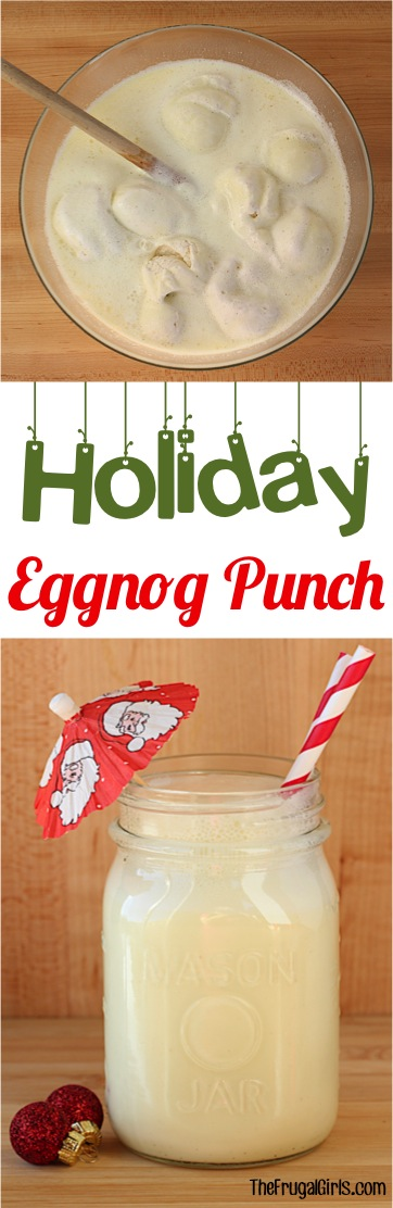 Eggnog Punch Bowl Recipe!  This crowd-pleasing easy party punch will be the star of your Christmas Parties and holiday celebrations!  Just 3 ingredients and crazy delicious!