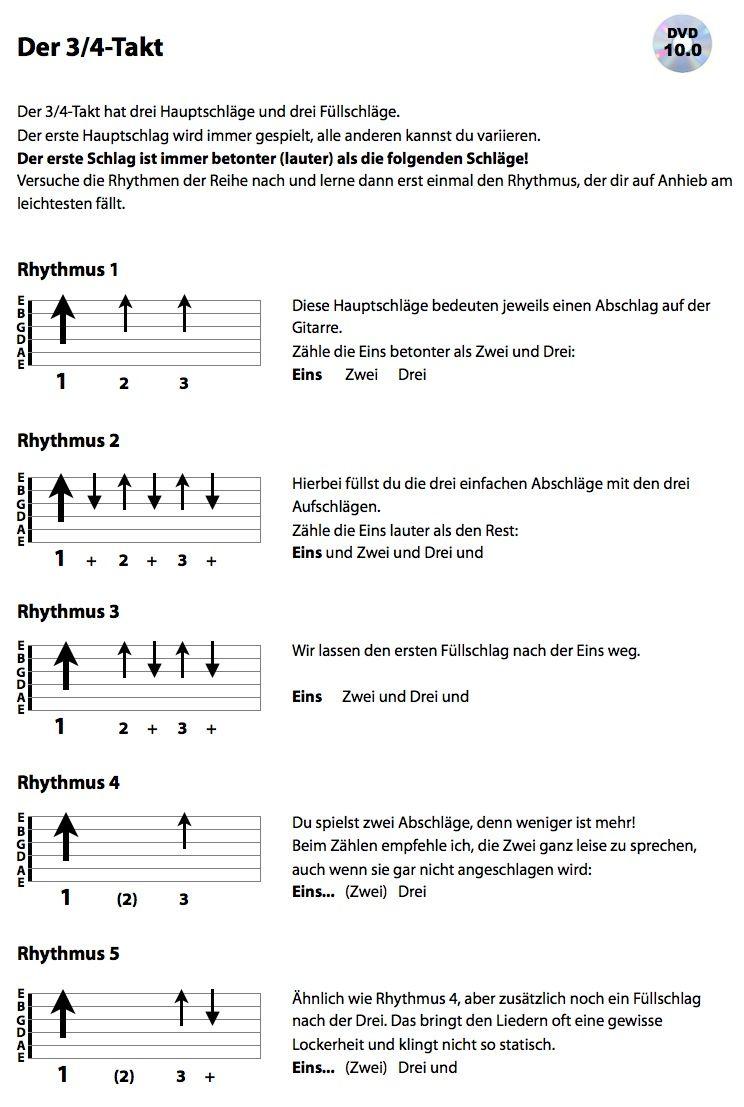 Es Geht Weiter Mit Dem 3 4 Takt Fur Viele Anfanger Ist Dieser Neue Takt Eine Echte Herausforderung Deshalb Umso Gitarren Akkorde Musik Gitarre Gitarre Lernen