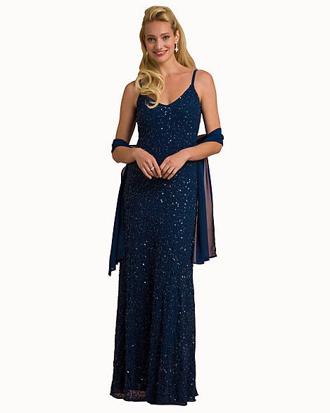 Beaded Knit V-Neck Gown with Scarf