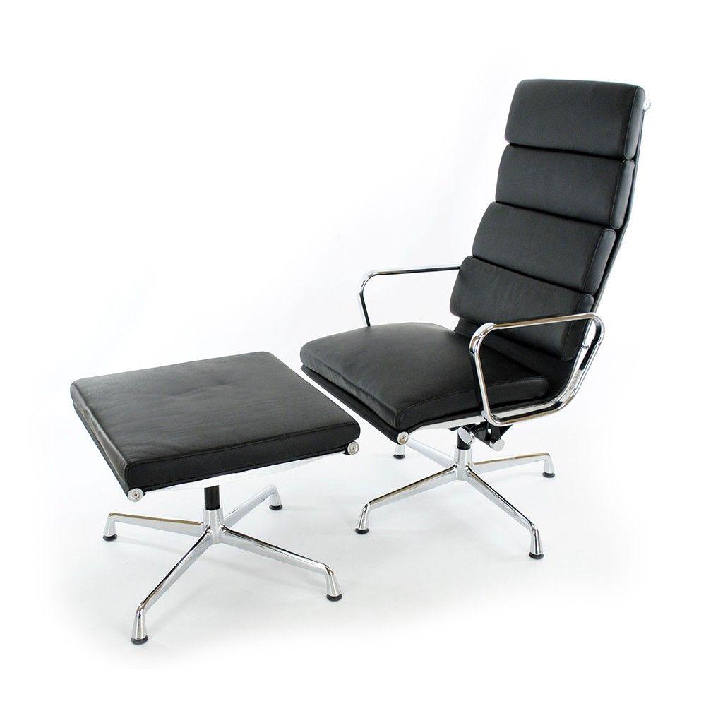 Eames EA222 Lounge Chair - дизайнерское кресло для отдыха с высокой спинкой и оттоманкой.