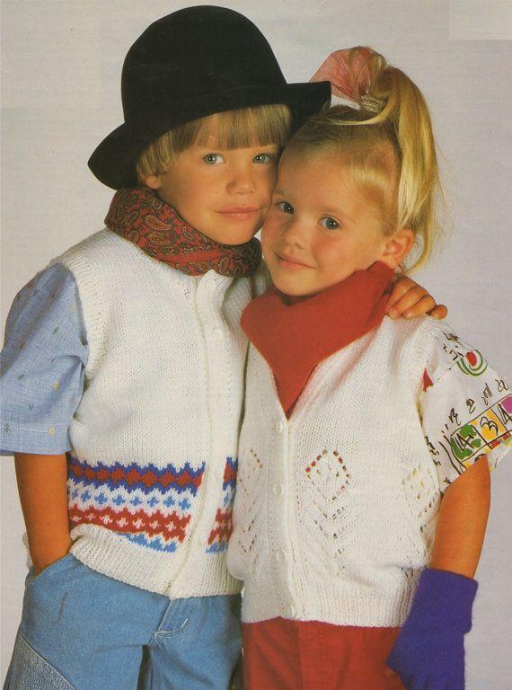 Toddlers / Childrens Sleeveless Cardigan / Waistcoat PDF Knitting ...