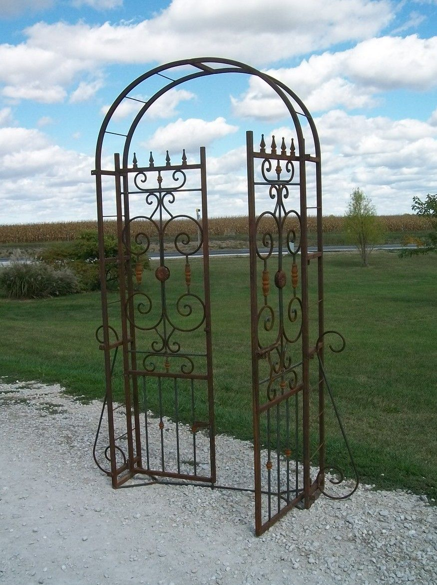 Wrought Iron Country French Arbor w/Metal Gate - Arbors & Arches