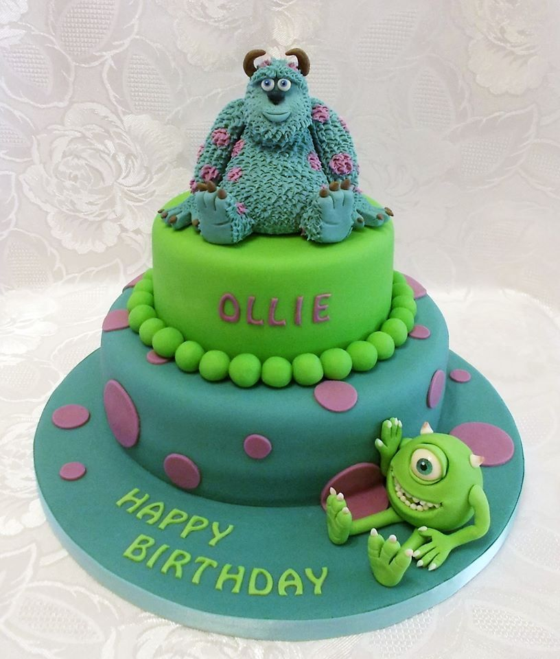 Monsters Inc , Sulley and Mike two tiered birthday cake