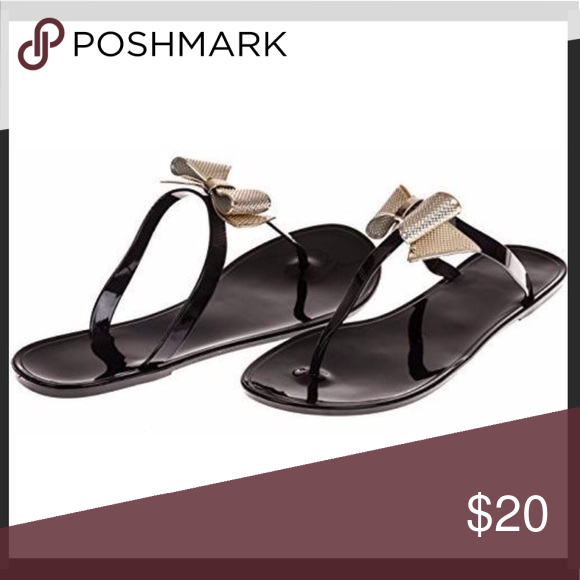 9d2d13d099d2 Chatties Flips Chatties Jelly Flip Flops. Black with girly gold bow Made  from synthetic jelly leather