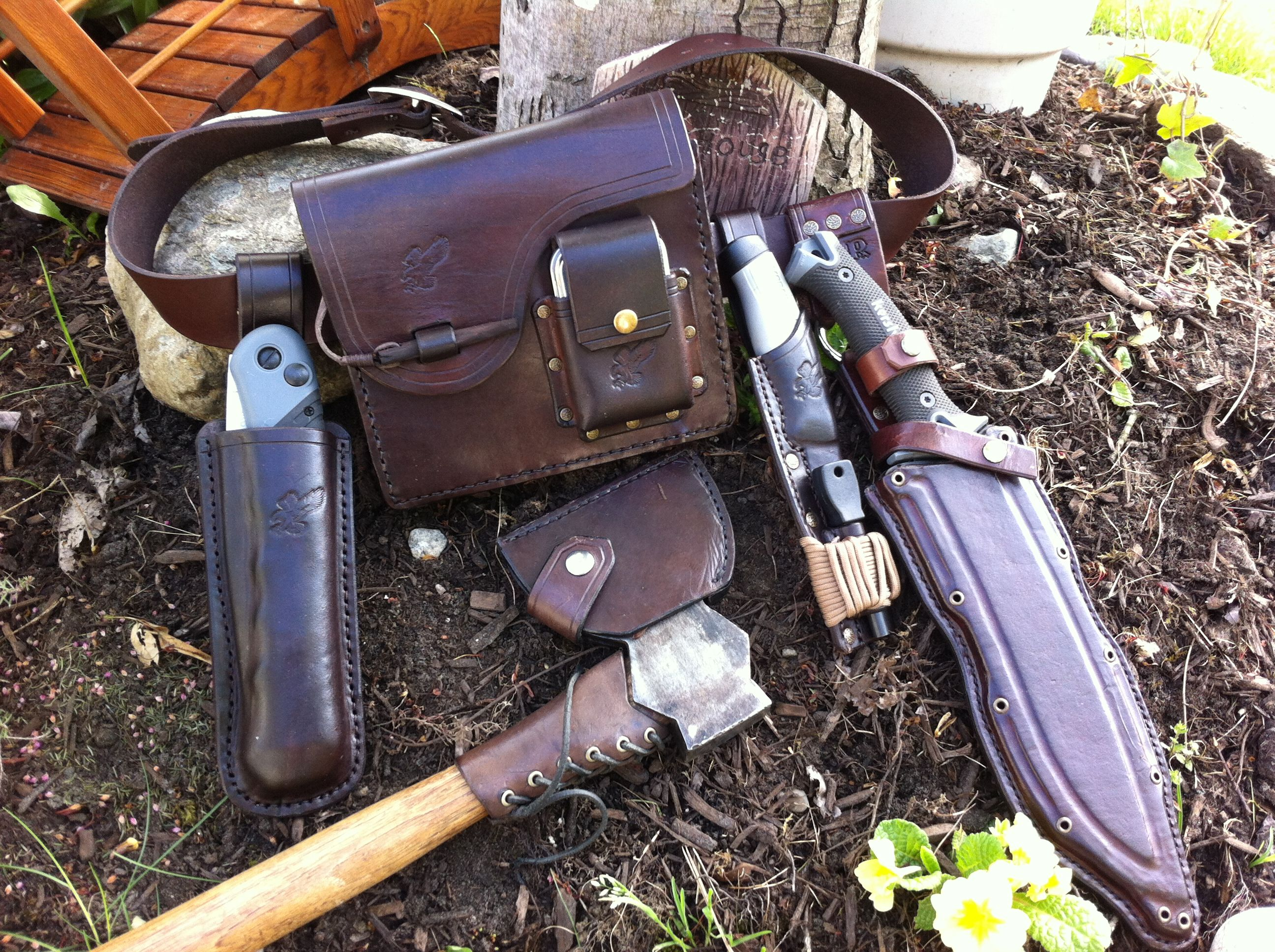 bushcraft belt kit by quot the cow quot leatherwork