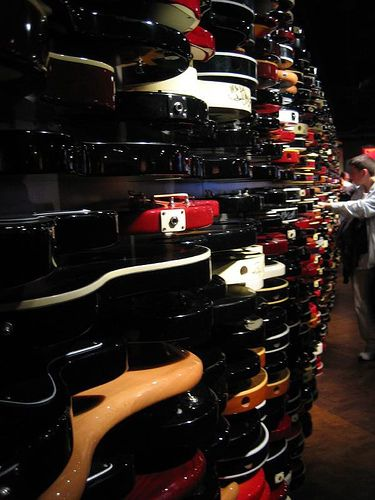 The guitar wall in Hard Rock Cafe, NYC