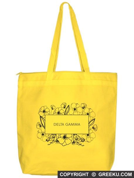 Sorority Flower Box Tote Bag | Customize the bag with your sorority name and change the bag and ink colors (shown in Delta Gamma). Minimum is 12 bags! Group pricing available. Check it out!! http://www.greeku.com/sorority/merchandise/bags/tote-bags/flower-box-tote-bag/