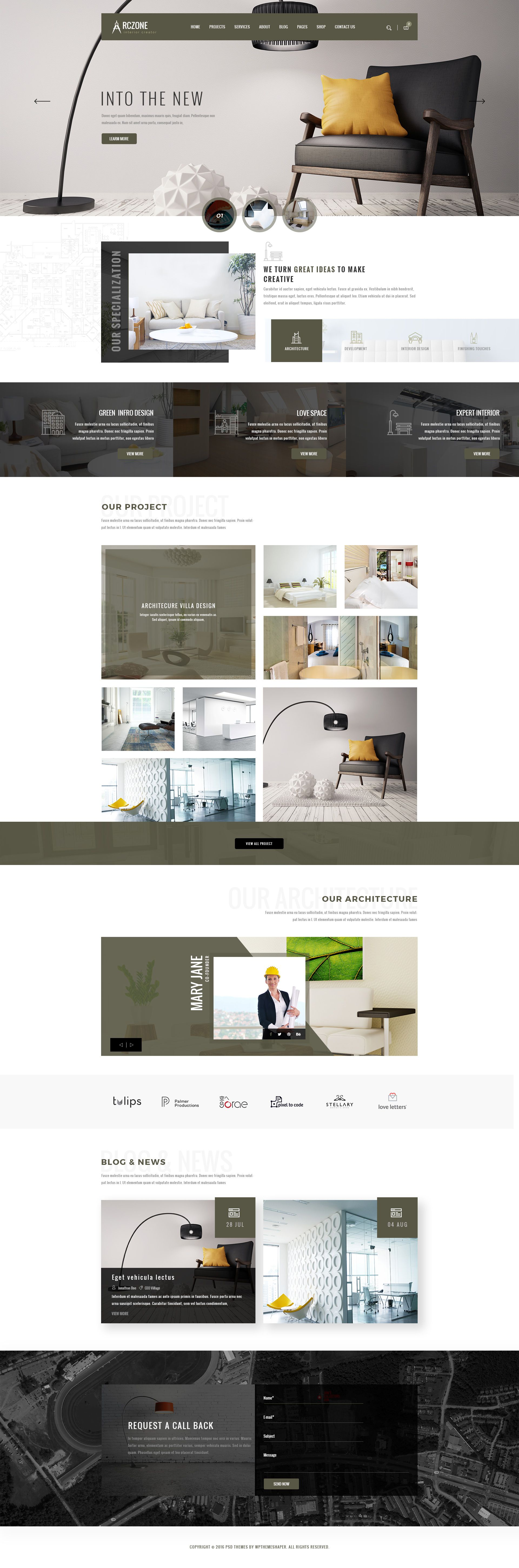ARCZONE  Interior Design, Decor, Architecture Business Template. By  Wpthemeshaper