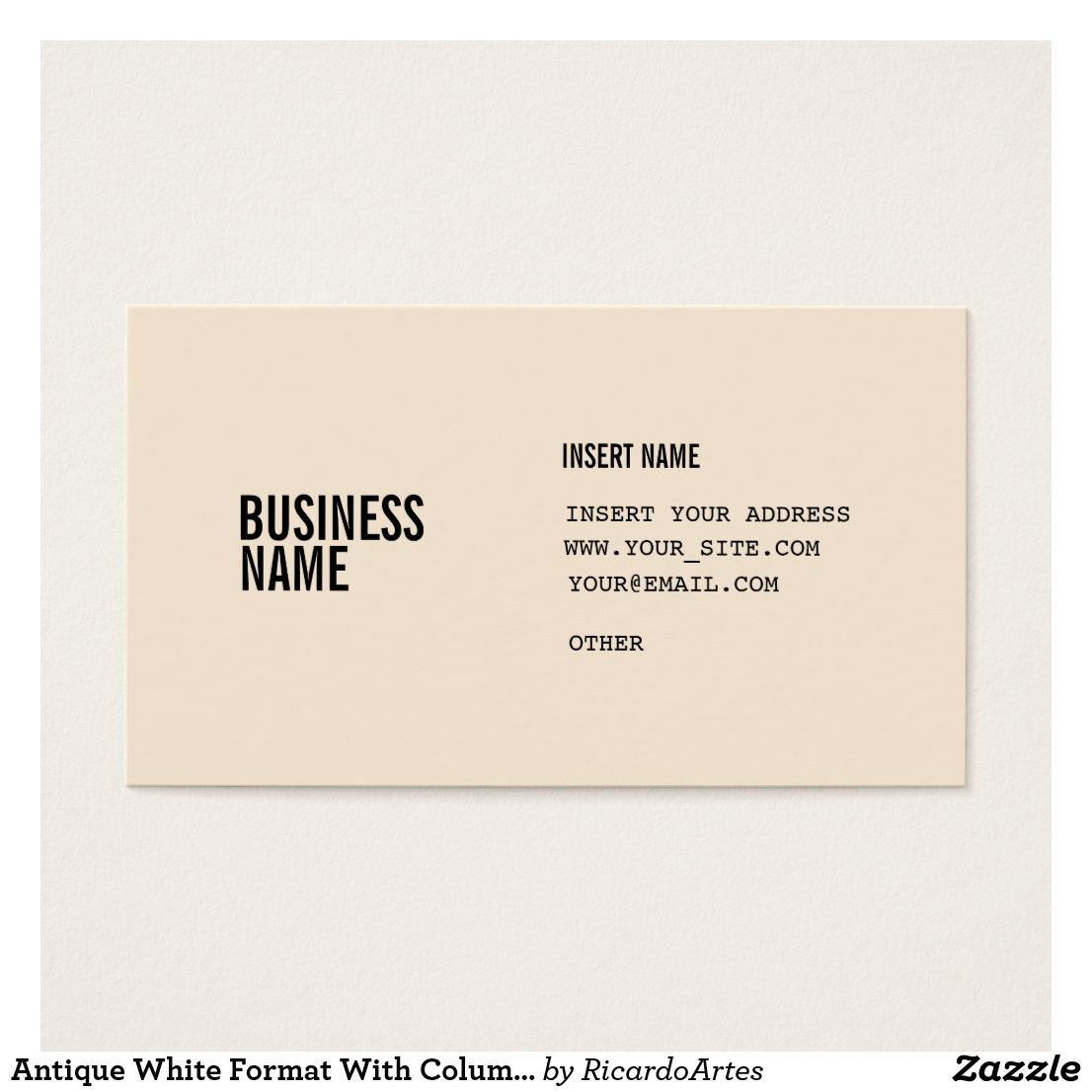 Antique White Format With Columns Condensed Fonts Business Card
