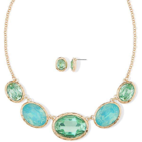 Monet Aqua Gold Tone Collar Necklace Earring Set 28 Liked On