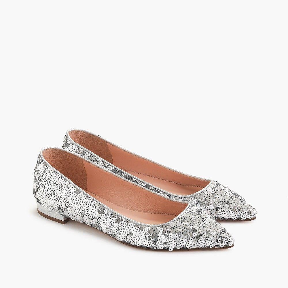 Size 11 J Crew Silver Sequin Flats Wedding Shoes Flats Spring Shoes Women Bride Shoes