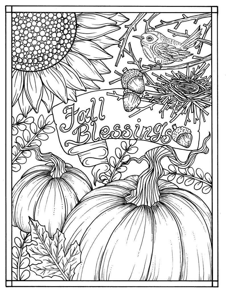 5 Pages Fabulous Fall Digital Downloads To Color Punpkins Etsy Fall Coloring Pages Sunflower Coloring Pages Thanksgiving Coloring Pages
