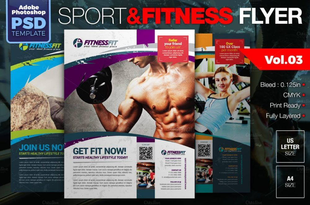 Fitness Flyer Template Fitness Flyer Gym Flyer V By Satgur