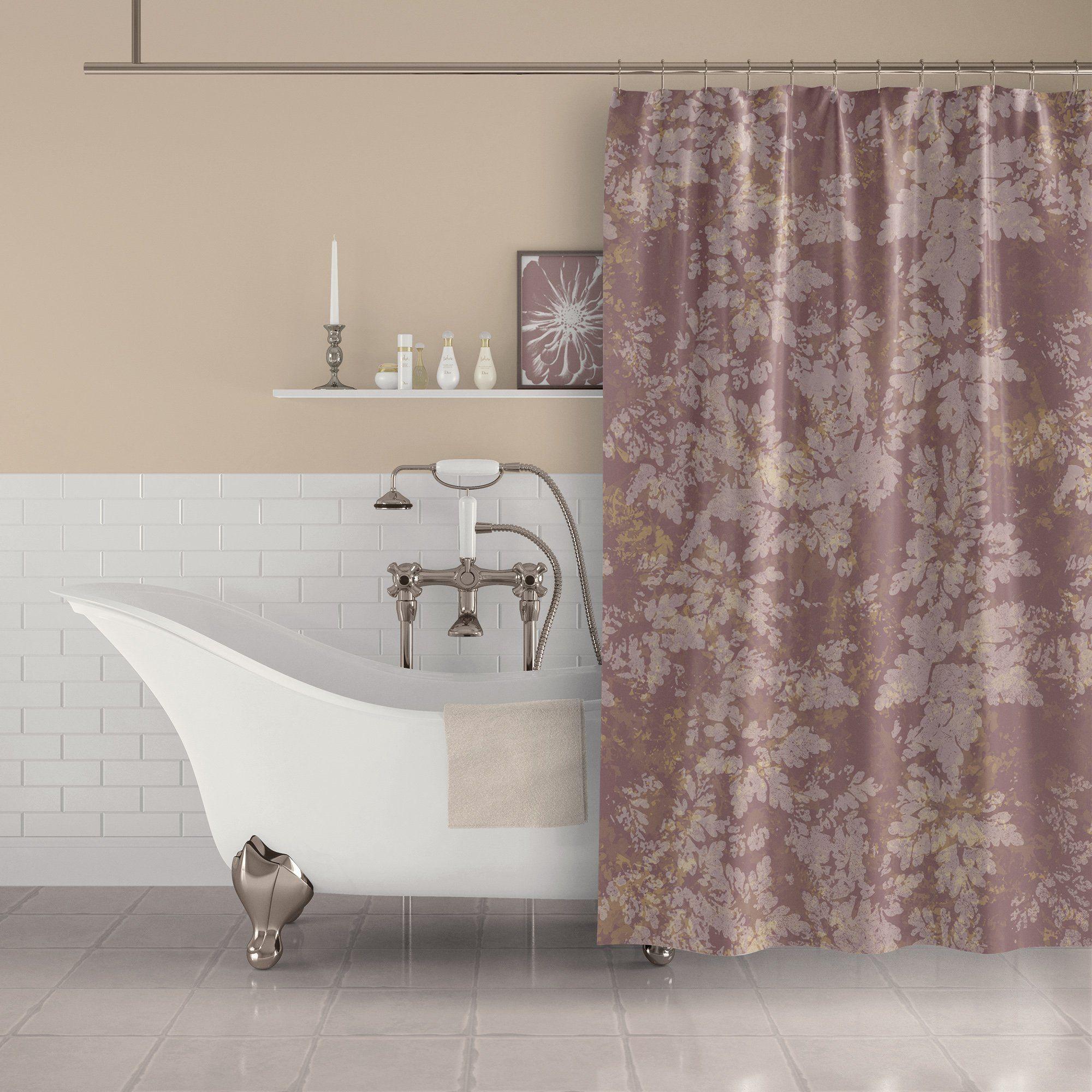 Rose Gold Dusty Pink Botanical Leaf Print Shower Curtain Blue