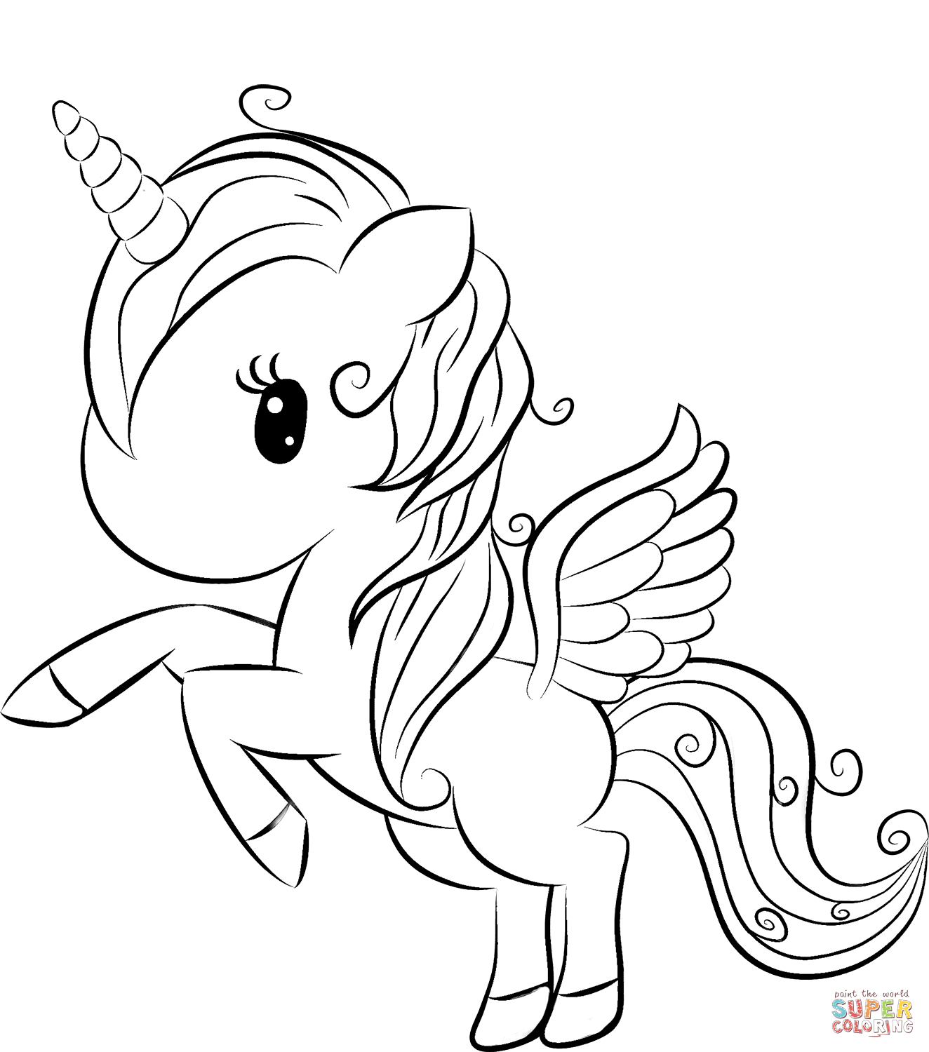Cute Unicorn Coloring Pages Free