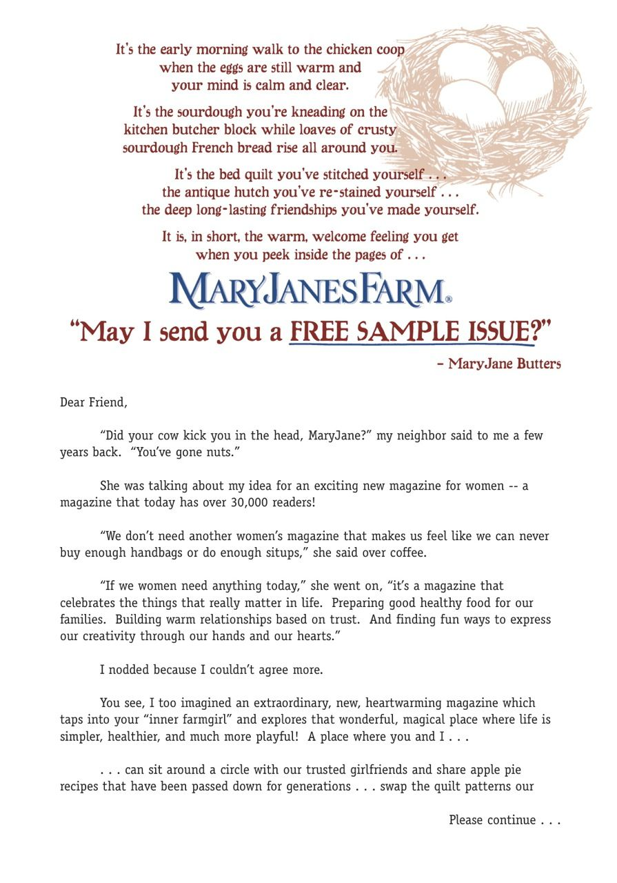 My direct mail sales Letter for MaryJanesFarm pulled over 10
