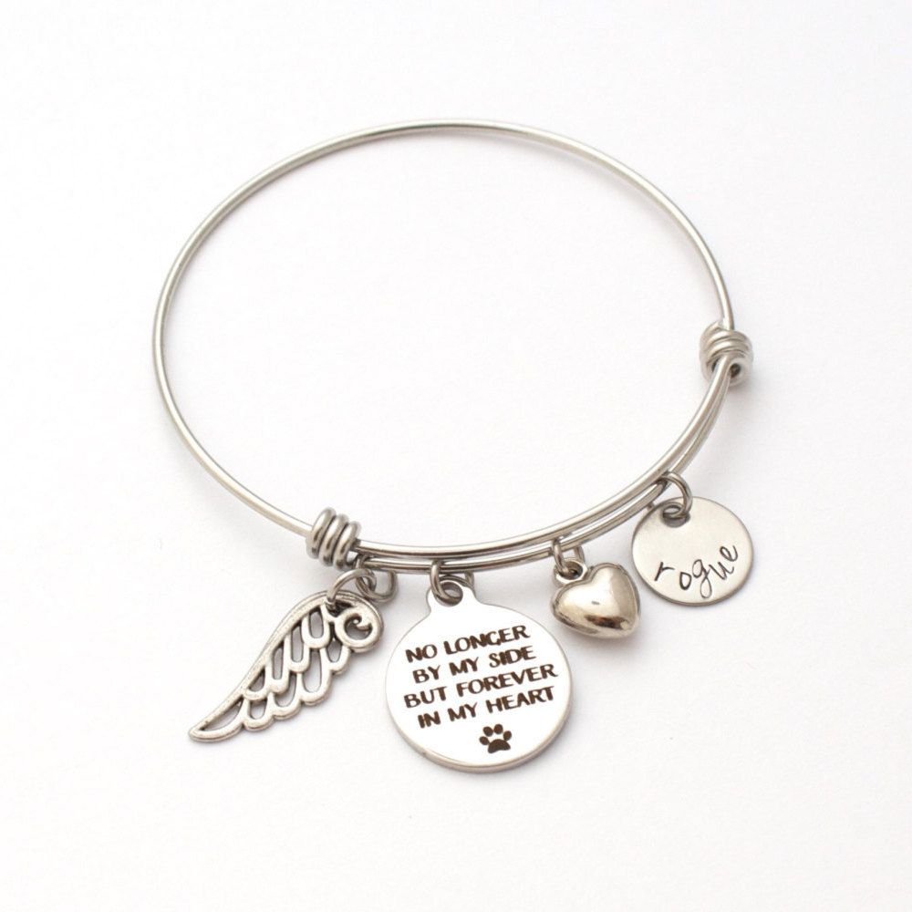 Adjustable Pet Memorial Charm Bracelet Bangle No Longer By Side Forever In Heart Pet Memorial Paw Print Pet Loss Dog Jewelry Animal Jewelry Pet Memorials