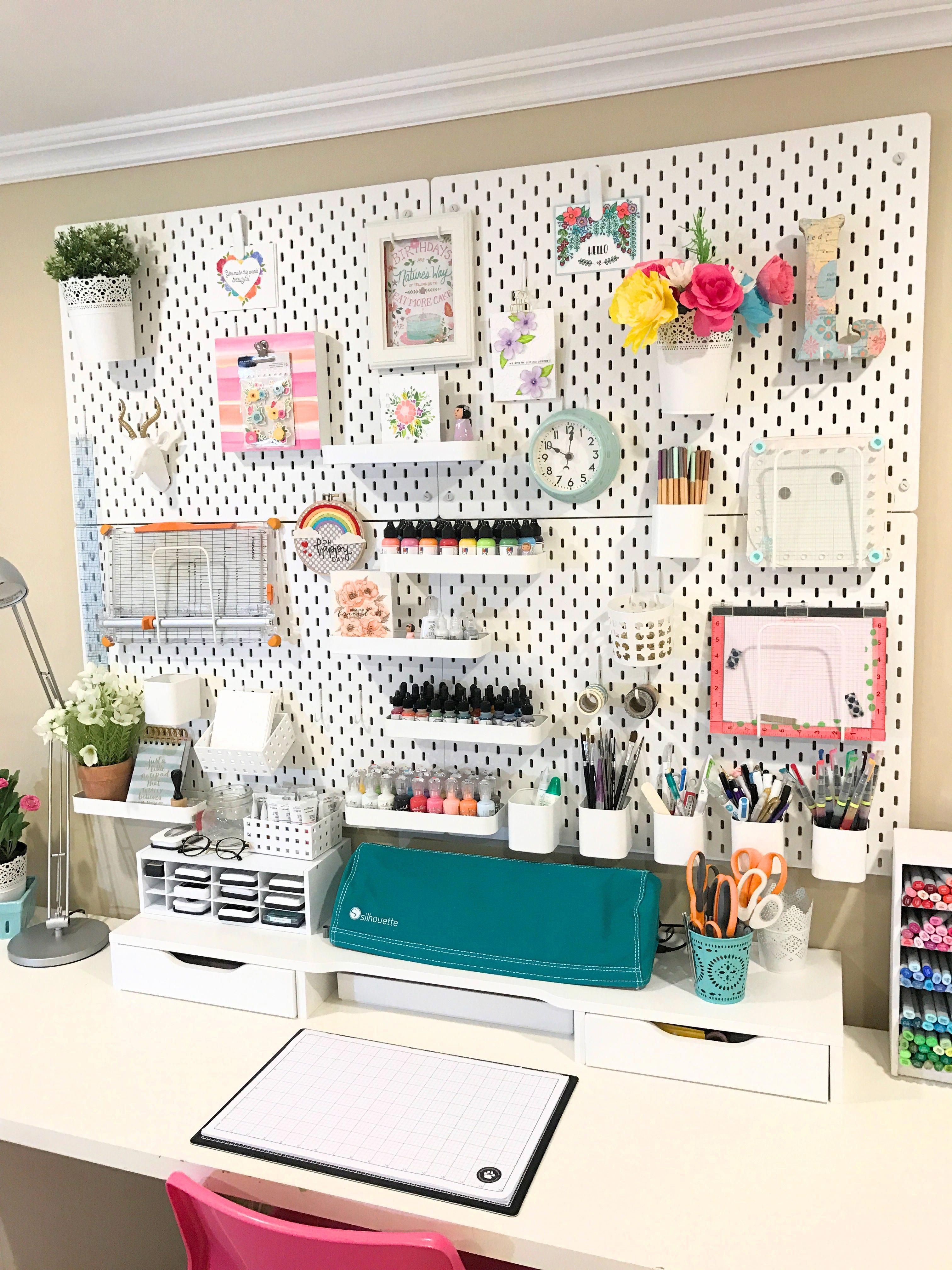 Ikea Skadis Pegboard Used For Craft Room Organization Makeover