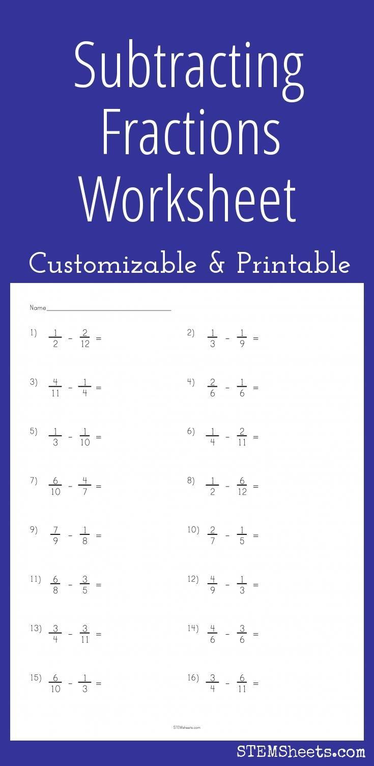 Subtracting Fractions Worksheet Fractions Worksheets Subtracting Fractions Add And Subtract Fractions Adding subtracting fractions worksheet