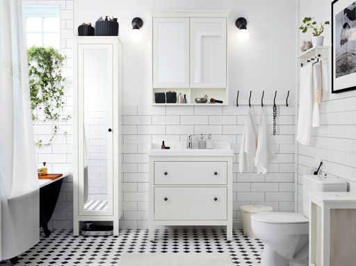 Bathroom Design Ikea Awesome A White Bathroom With Tiles Washstand And High Cabinet With Decorating Design