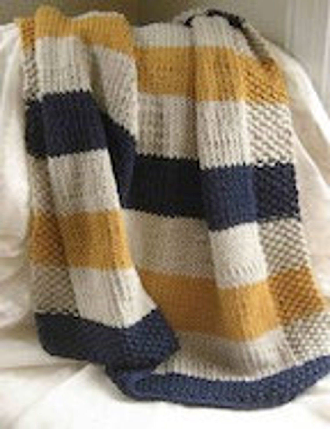 "KNITTING PATTERN EASY STRIPED RIBBED PATTERN ARAN BABY BLANKET 36/"" X 32/"""