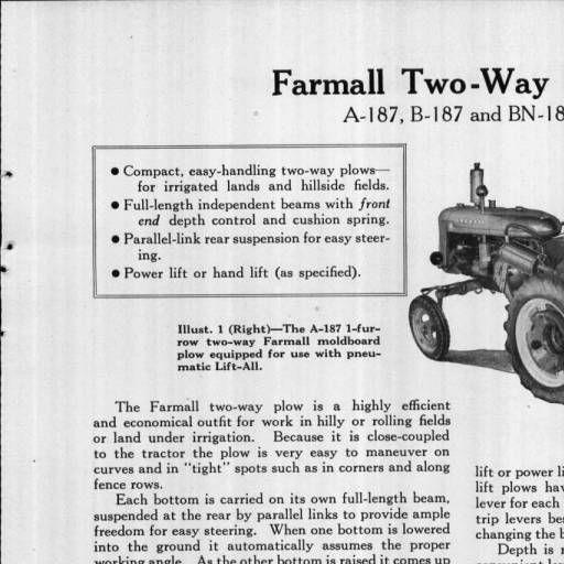 farmall a plow lift