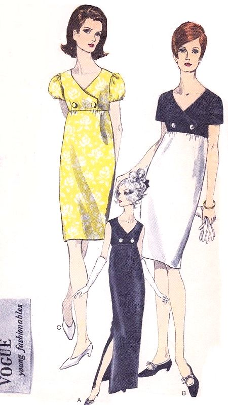 e517db9c1cc 1960s CLASSY Empire Evening Cocktail Party Dress Pattern VOGUE Young  Fashionables 6847 Surplice Empire Bodice Slim Gown or Dress 3 Styles Bust  34 Vintage ...