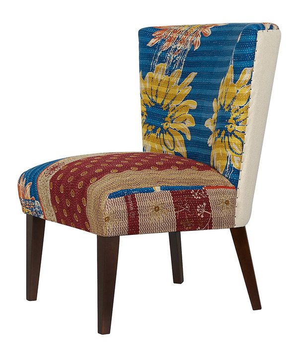 Look at this Blue & Yellow Sunflower Kantha Blanket Vintage Arm Chair on #zulily today!