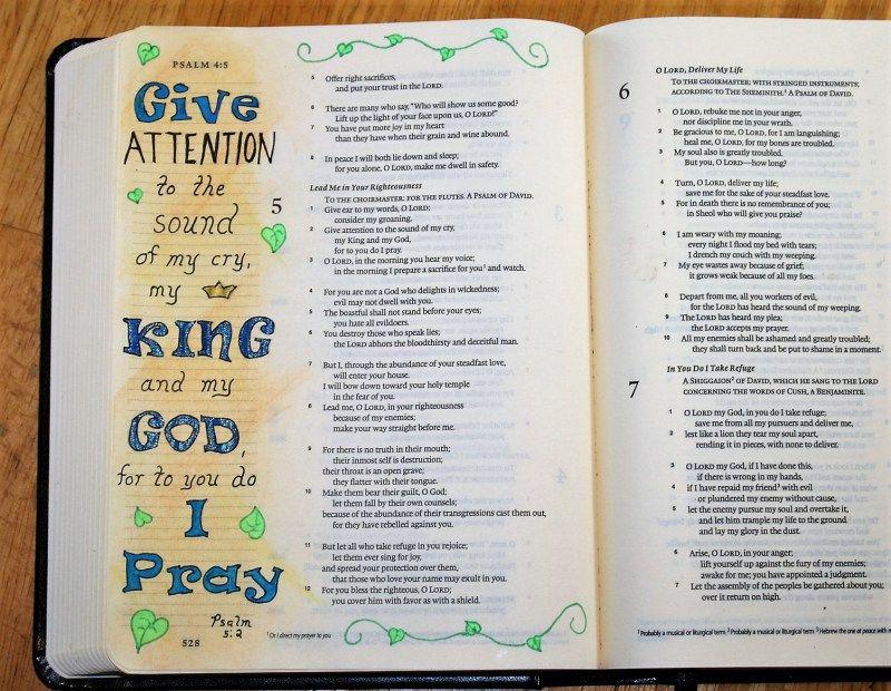 Art Journaling Psalm 5:2 – Prayer | Journaling Bibles | Psalm 5